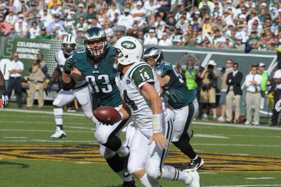 Brandon Bair #93 of the Philadelphia Eagles during the game against the Jets on September 27, 2015 at METLIFE stadium in East Rutherford, NJ ( Photo by Ed Mahan )